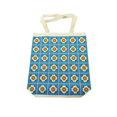 Peranakan Tiles Canvas Bag Local Tote Bags Now&Then Blue