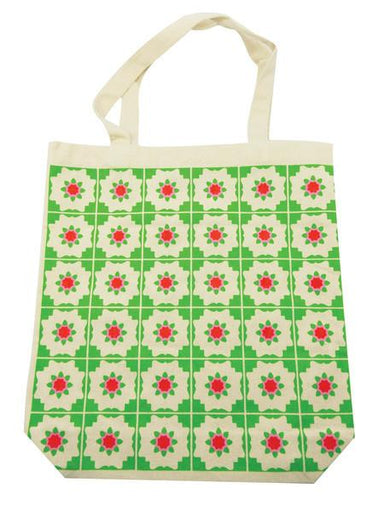 Peranakan Tiles Canvas Bag Local Tote Bags Now&Then Green