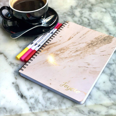 Personalised Luxe Marble Notebook Personalised Prints Prinlux Luxe Marble White