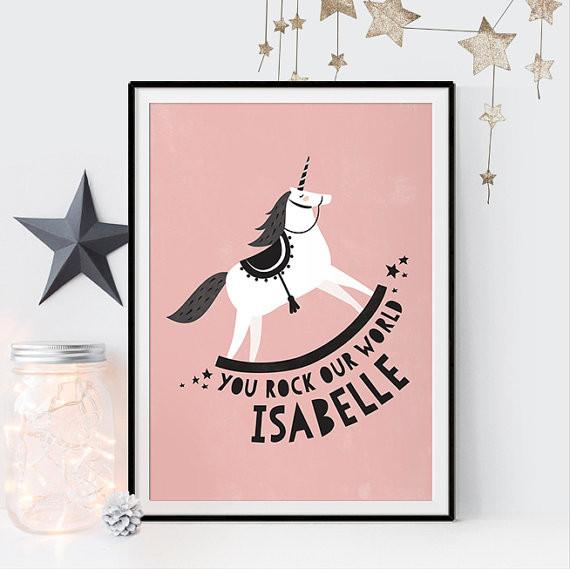 Personalised Unicorn Print Kids Prints Poppetry