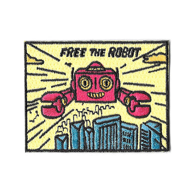 Pew Pew x Free The Robot: Flying Robot Sticker Patch - Iron On Patches - Pew Pew Patches - Naiise