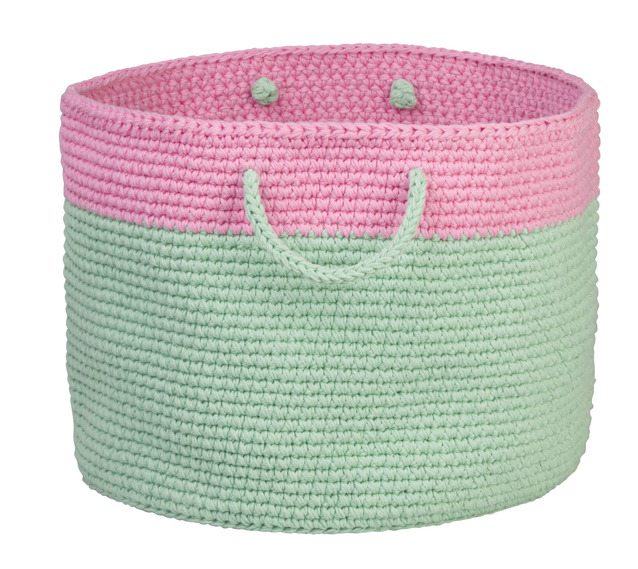Pink & Mint Crochet Storage Basket - Baskets - La De Dah Kids - Naiise