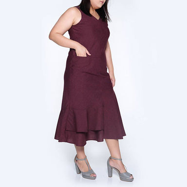 Pipa Panelled Midi Dress in Red/Black Plus Size - Dresses - Salient Label - Naiise