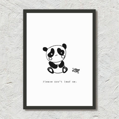 Please Don't Leaf Me (Panda Illustration) - Art Print Prints Leah Design