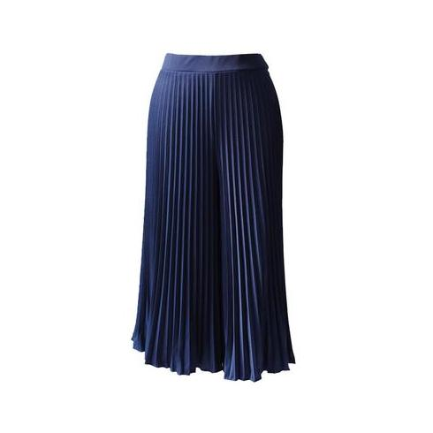 Pleated Cullotes in Navy (Midi) Women's Pants Ans.ein