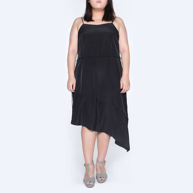 Plus Size Chasin Asymmetric Slip Dress in Black Dresses Salient Label