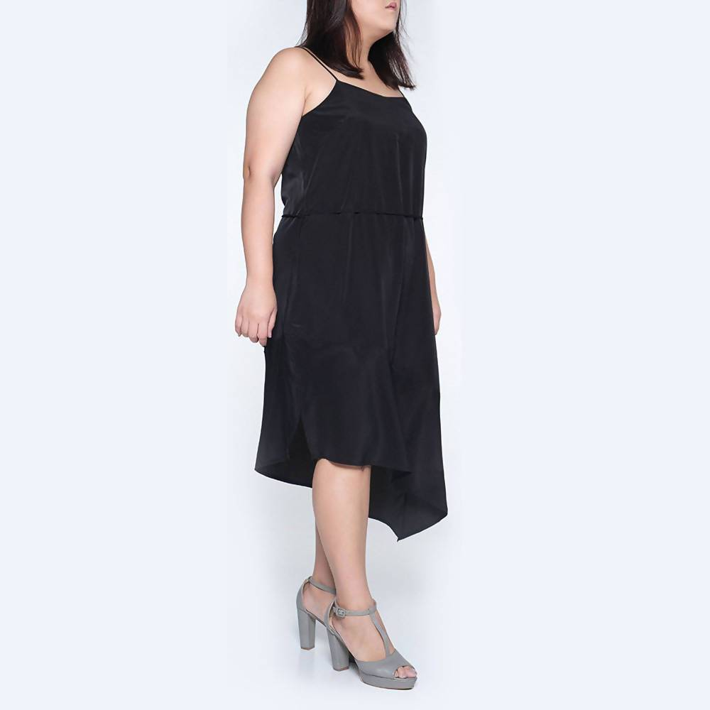 Plus Size Chasin Asymmetric Slip Dress in Black - Dresses - Salient Label - Naiise