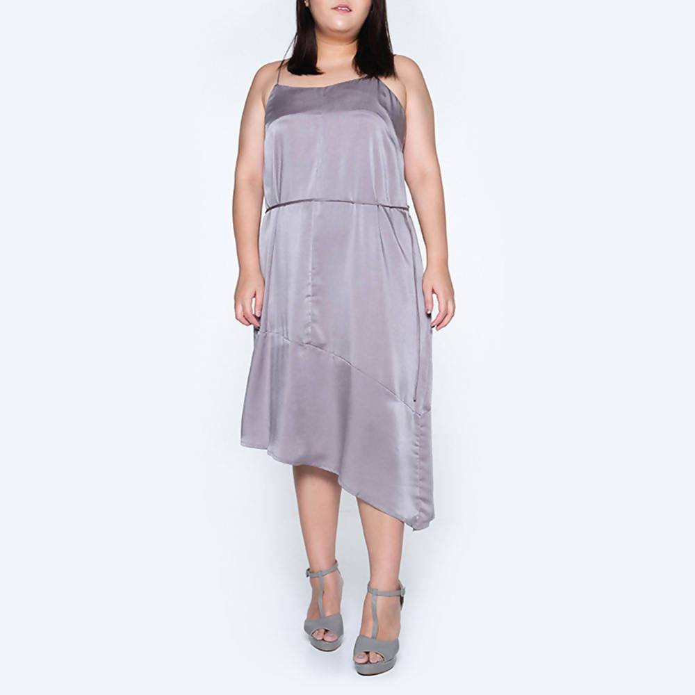 Plus Size Chasin Asymmetric Slip Dress in Pewter - Dresses - Salient Label - Naiise