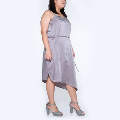 Plus Size Chasin Asymmetric Slip Dress in Pewter Dresses Salient Label