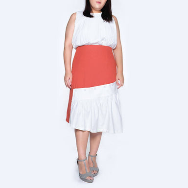 Plus Size Venexia Button Detail Draped Skirt in Flamingo Skirts Salient Label
