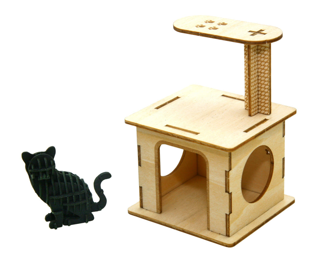 Plywood - Cat Playground with Sitting Cat Model Kits Team Green