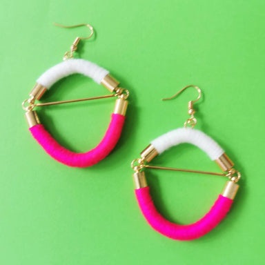 Crossbar Rope Earrings - Hot Pink, White - Earrings - Playtime Rebs Studio - Naiise