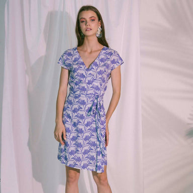 Pragma Wrap Dress in Blue Biro - Dresses - Akosée - Naiise