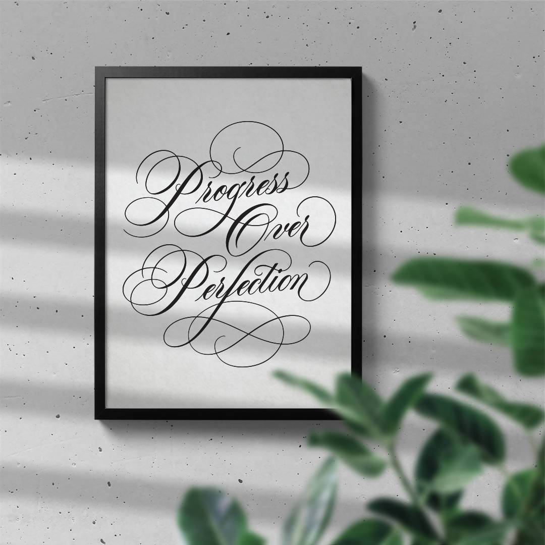 Progress Over Perfection - Calligraphy Art Print - Prints - Leah Design - Naiise