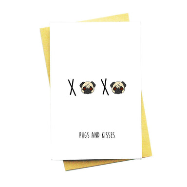 Pugs And Kisses Greeting Card Love Cards Nocturnal Paper Default