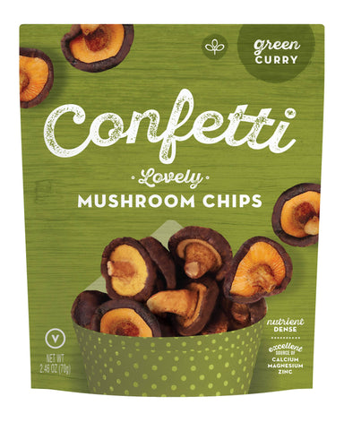 Confetti Snacks - Vegetables/Mushrooms Chips Snacks Confetti Snacks Confetti Lovely Mushroom Chips - Green Curry