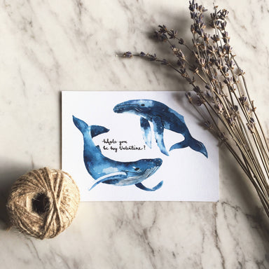 Whale You Be My Valentine | Greeting Card - Love Cards - Papercranes Design - Naiise