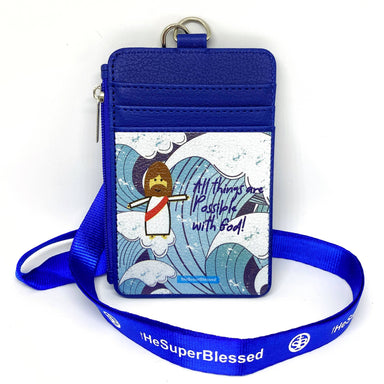 All Things are Possible with God Blue Waves Navy Zipped Cardholder Coin Pouch Lanyard Set - Wallets - The Super Blessed - Naiise