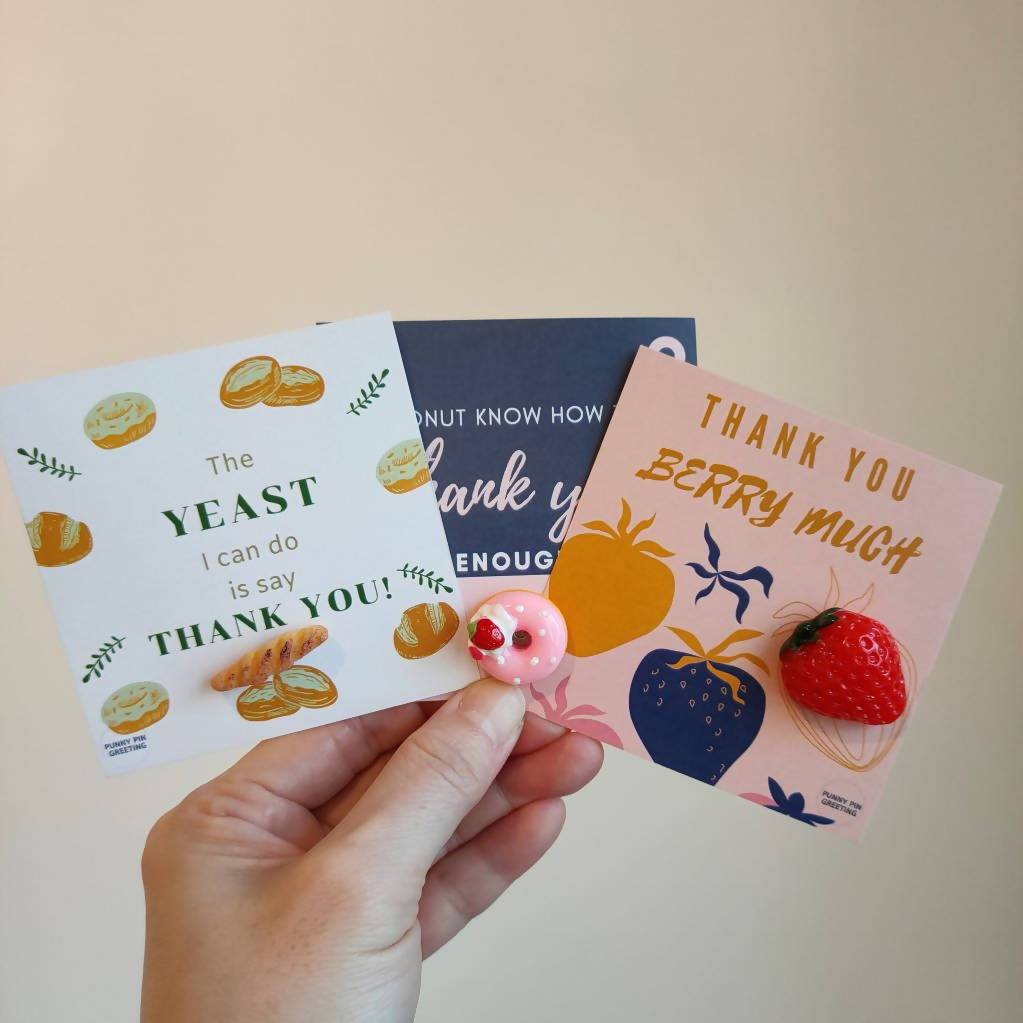 Pin-Cards ~ Thank You Messages (Set of Assorted 10) - Thank You Cards - Punny Pin Greeting - Naiise
