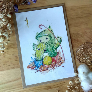 Little Cactus Family Christmas Card - Christmas Cards - Piranhadogg - Naiise