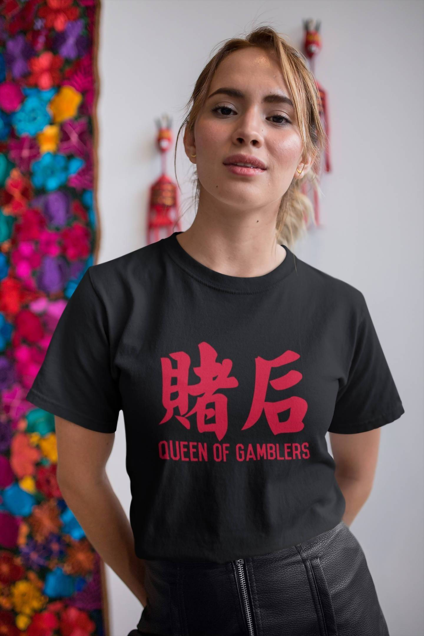 Queen of Gamblers Crew Neck S-Sleeve T-shirt Local T-shirts Wet Tee Shirt