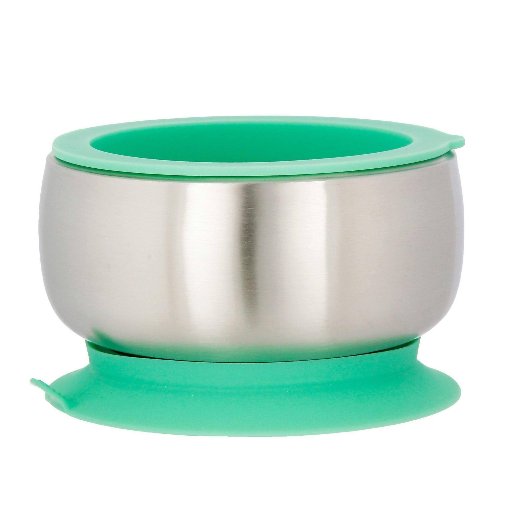 Green Avanchy Stainless Steel Suction Baby Bowl + Lid - Kids Utensils - The Children's Showcase - Naiise