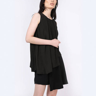 Raelyn Front Draped Panel Top - Anthracite - Women's Tops - Salient Label - Naiise