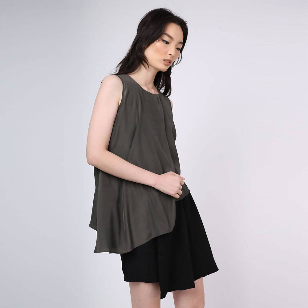 Raelyn Front Draped Panel Top - Dark Olivine Women's Tops Salient Label
