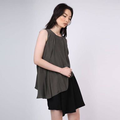 Raelyn Front Draped Panel Top - Dark Olivine - Women's Tops - Salient Label - Naiise