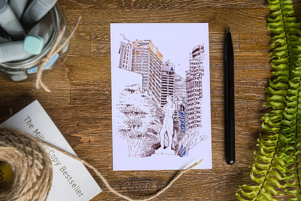 Raffles Statue Postcard - Local Postcards - Just Sketch - Naiise
