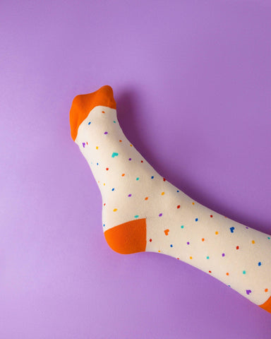 Rainbow dots (cream) LGBTQ+ Socks Socks Heckin' Unicorn