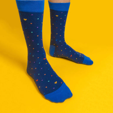 Rainbow dots (navy) LGBTQ+ Socks Socks Heckin' Unicorn