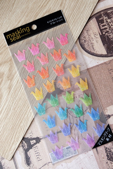 Rainbow Origami Crane Washi Stickers-77642 - Naiise