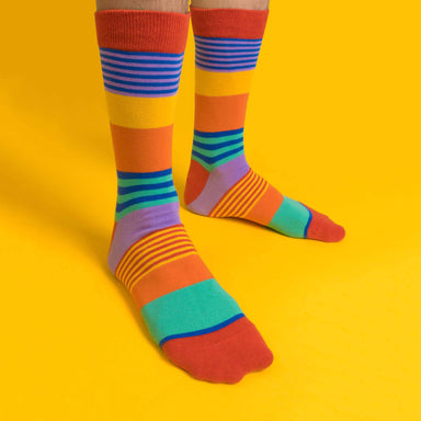 Rainbow stripes LGBTQ+ Socks Socks Heckin' Unicorn