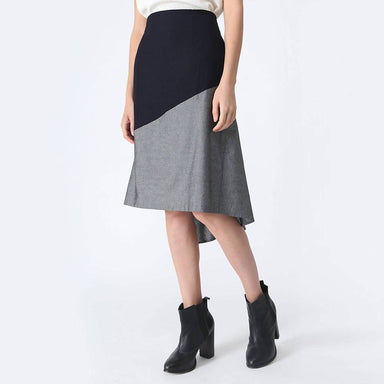 Ravello Back Draped Button Detail Skirt in Grey Cloud - Skirts - Salient Label - Naiise