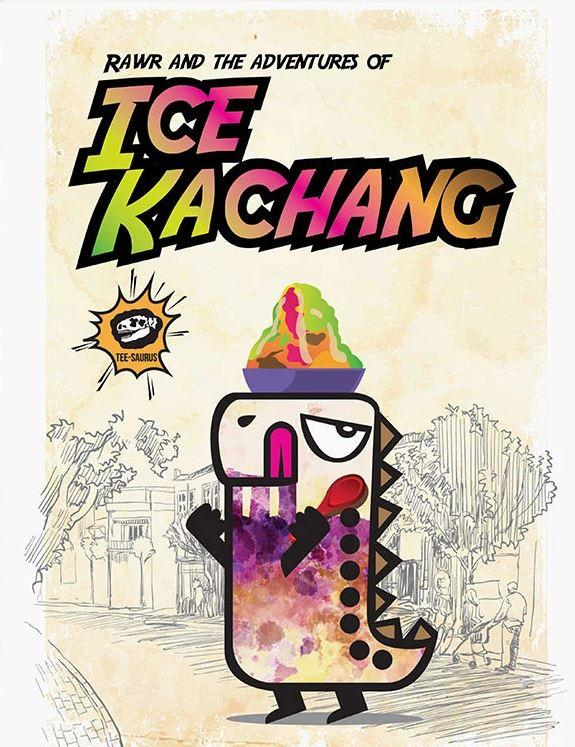 Rawr Around Singapore Postcard - Ice Kachang Postcards Tee-saurus
