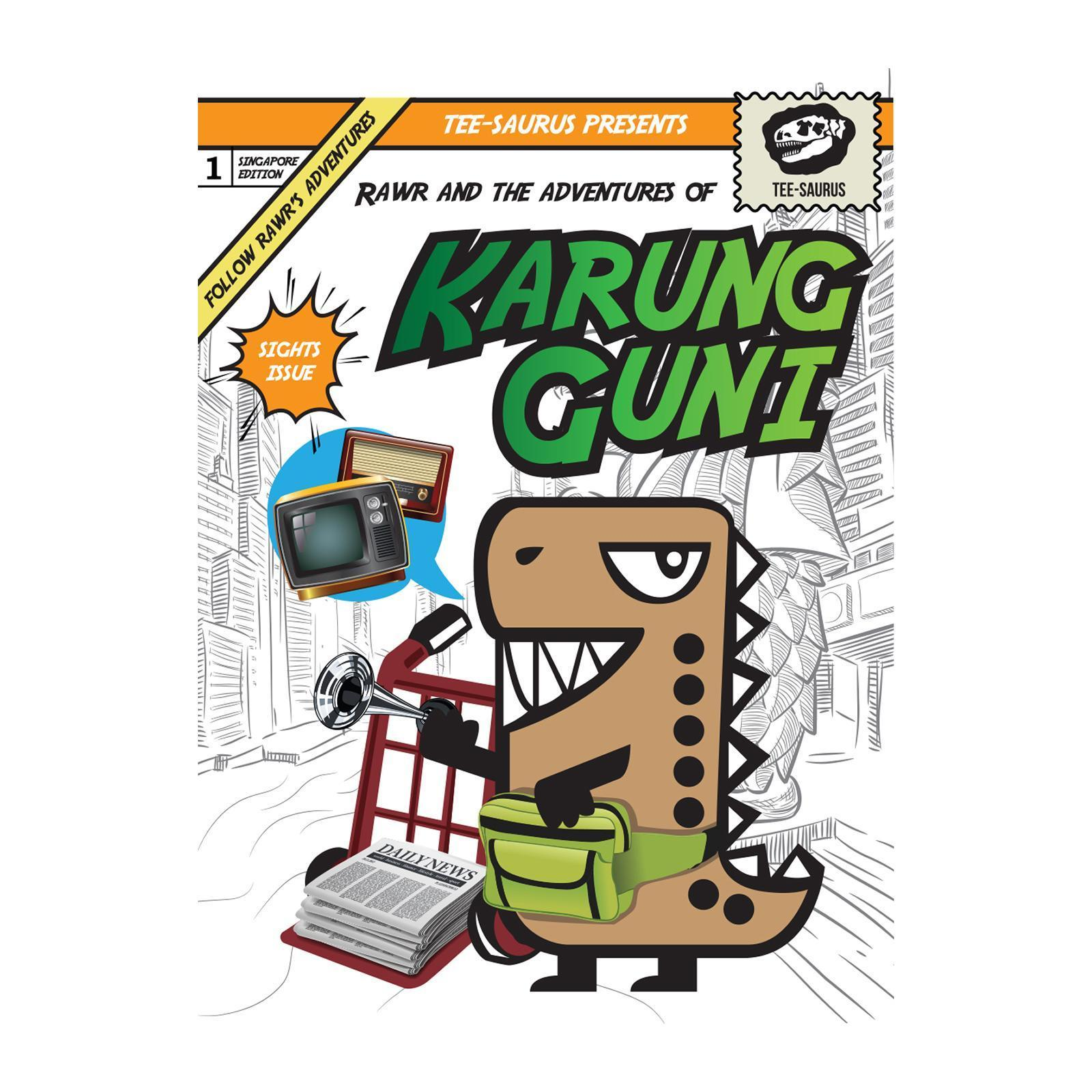 Rawr Around Singapore Postcard - Karang Guni Postcards Tee-saurus