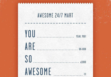 Receipt - You are so Awesome - Thank You Greeting Card Thank You Cards Quirky Paper Co.