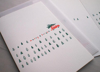 Red Car Pine Tree Christmas Card Christmas Cards ditto ditto