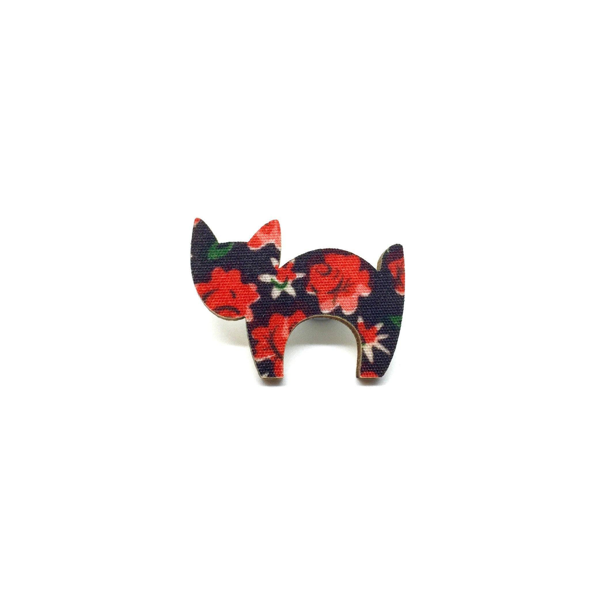 Red Floral Scaredy Cat Wooden Brooch - Brooches - Paperdaise Accessories - Naiise