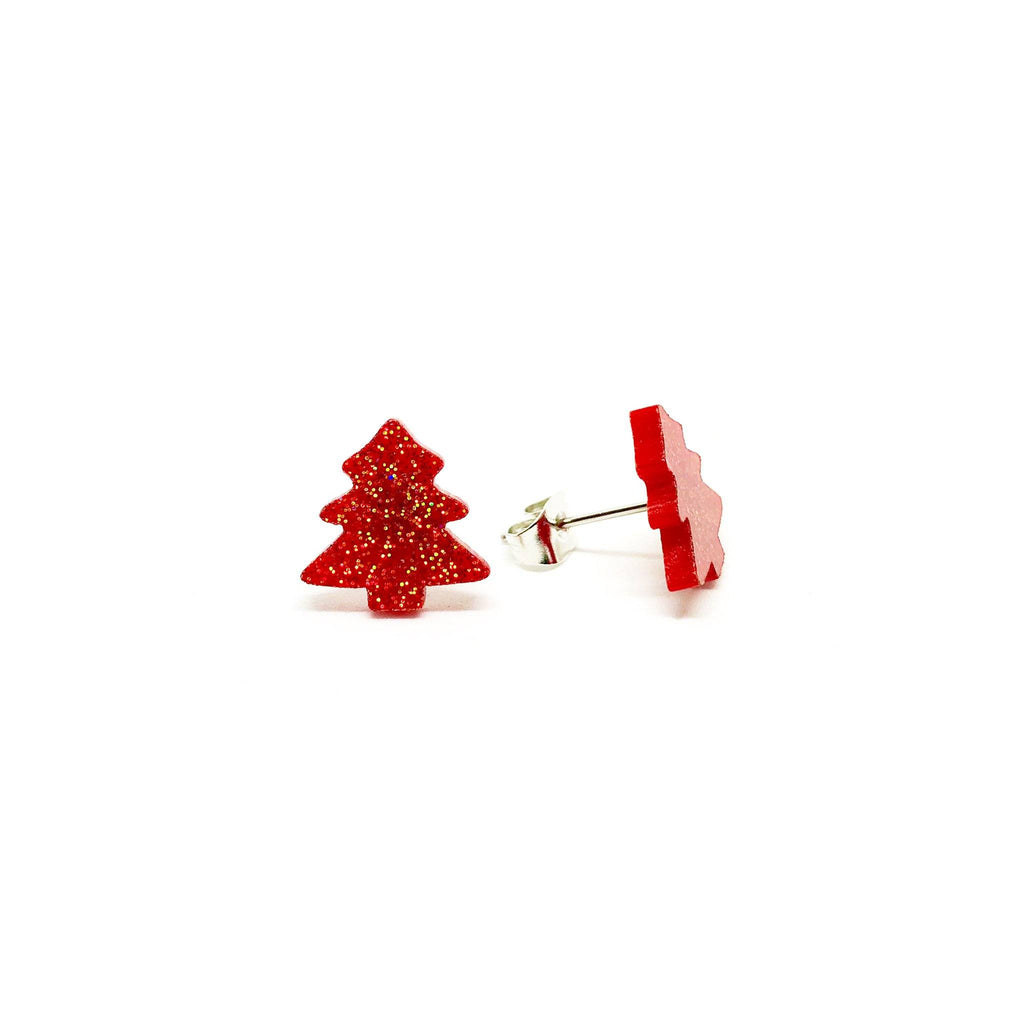 Red Glitter Christmas Tree Laser Cut Acrylic Earrings Earrings Paperdaise Accessories