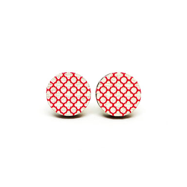 Red Grilles on White Wooden Earrings - Earrings - Paperdaise Accessories - Naiise
