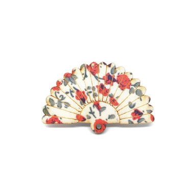 Red Kimono Sakura Fan Wooden Brooch - Brooches - Paperdaise Accessories - Naiise