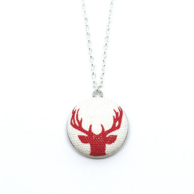 Red Reindeer Handmade Fabric Button Christmas Necklace - Necklaces - Paperdaise Accessories - Naiise