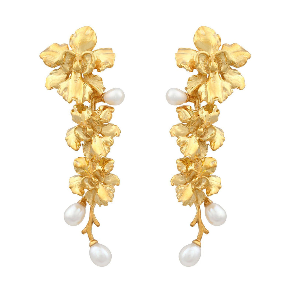 Reminisce Orchid Trio Earrings Earrings [in]TRIGUE 18K Gold