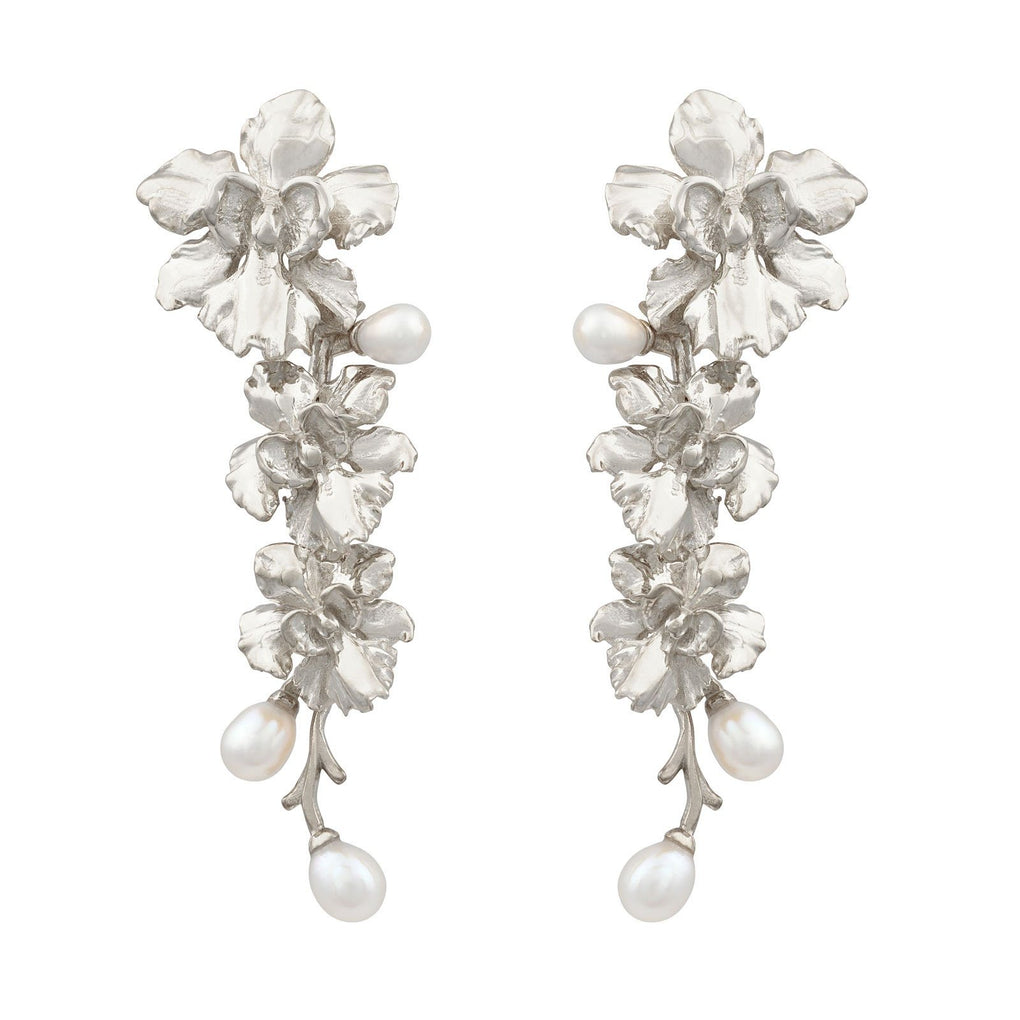 Reminisce Orchid Trio Earrings Earrings [in]TRIGUE Rhodium
