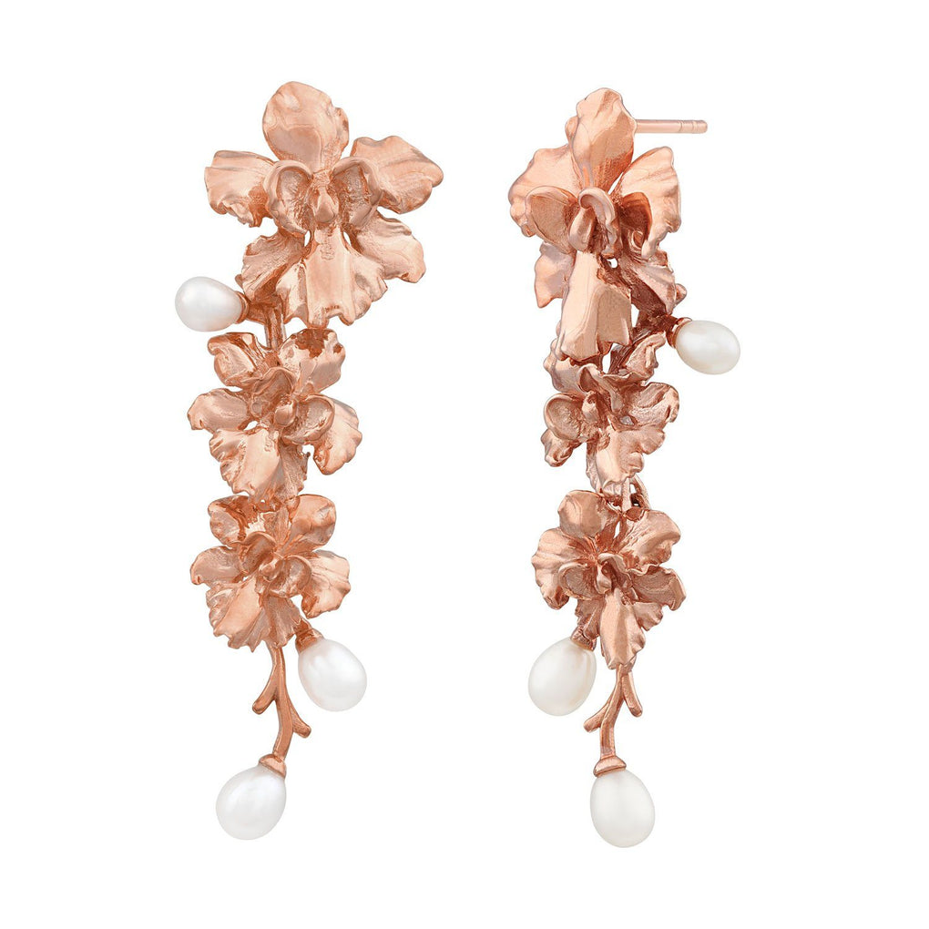 Reminisce Orchid Trio Earrings Earrings [in]TRIGUE Rose Gold