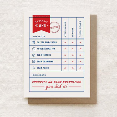 Report Card - Graduation Greeting Card Graduation Cards Quirky Paper Co.