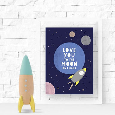 Rocket and Moon Print Kids Prints Poppetry
