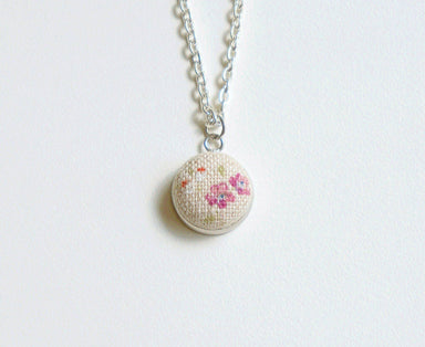 Rose Dew Handmade Fabric Button Necklace - Necklaces - Paperdaise Accessories - Naiise
